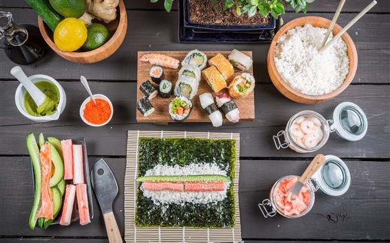 壁紙 日本料理、食べ物、ライスロール、寿司、レモン