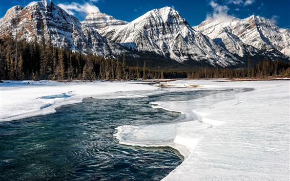 Обои Джасперский национальный парк, Канада, горы, снег, река, лес, зима
