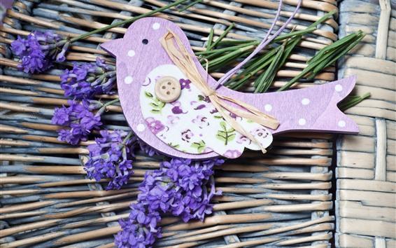 Обои Лаванда, фиолетовые цветы, оформление птиц