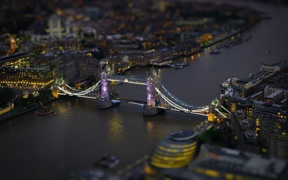 Fond d'écran Londres, pont, rivière, nuit, lumières, Angleterre