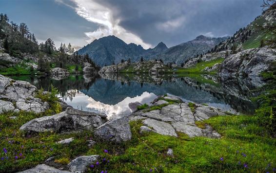 Papéis de Parede Mercantour National Park, Montanhas, Lago, Nuvens, França