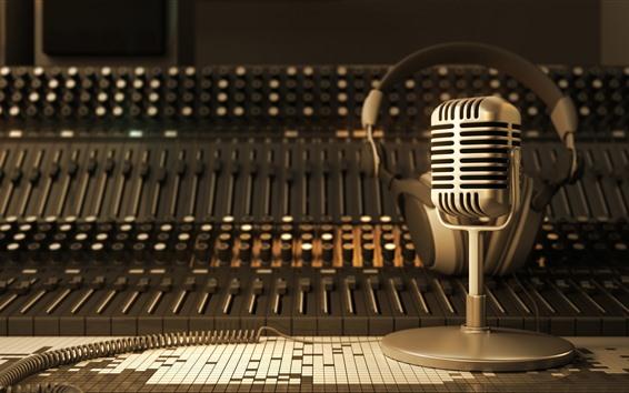 Wallpaper Microphone, retro, audio, mixer