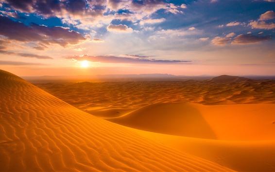 Fondos de pantalla Marruecos, Desierto, Puesta de sol, Cielo, Nubes