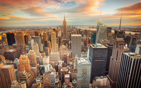 Wallpaper New York, dusk, skyscrapers, sunset, city, USA