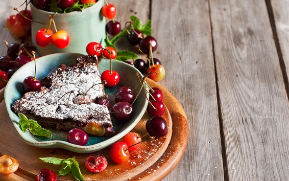 Fond d'écran Une tarte cerise en tranches, des cerises, des fruits