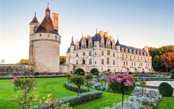 Wallpaper Palace, castle, garden, flowers, lawn