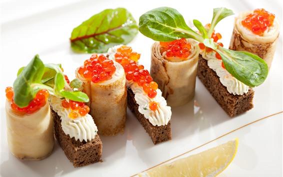 Fond d'écran Rouleaux de crêpes, sandwich, caviar rouge, nourriture