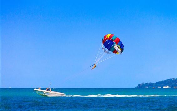 Wallpaper Parasailing, sea, boat, blue sky, island