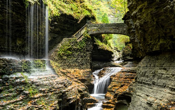Wallpaper Park, waterfall, ladder, bridge, rocks, USA