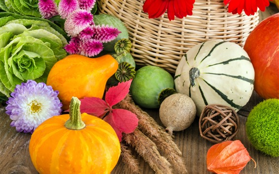 Wallpaper Pumpkin, vegetables, flowers, basket