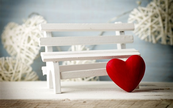 Обои Красные любовь сердца, скамейка, романтические