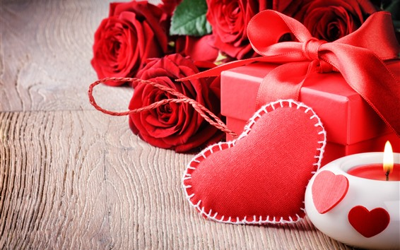 Wallpaper Red roses, love heart, gift, candle, romantic