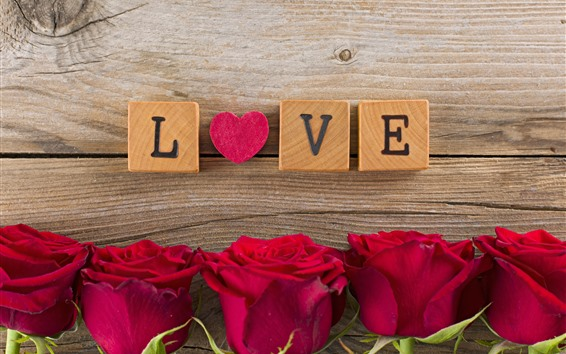 Wallpaper Red roses, love heart, wood cubes