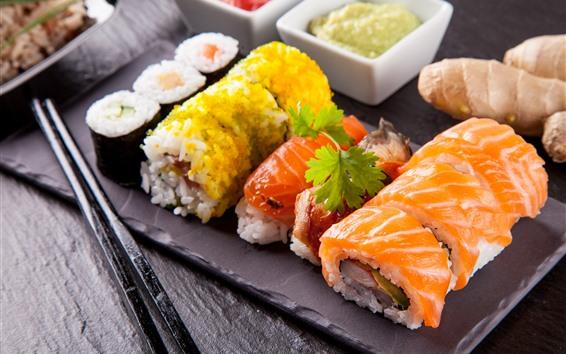 Обои Рисовые роллы, наполнение, суши, японская кухня