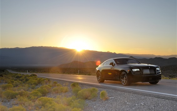 Wallpaper Rolls-Royce black luxury car, road, sunset