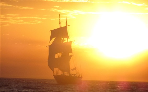 Wallpaper Sailboat, sunrise, fog, sea