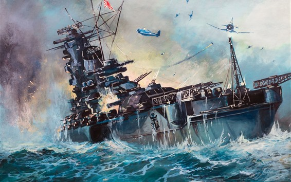 Wallpaper Sea, ship, WW2, art painting