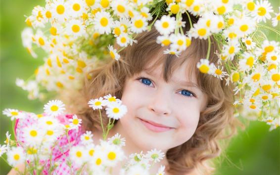 Papéis de Parede Sorriso menina, criança, flores, grinalda