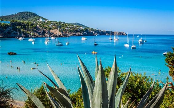 Wallpaper Spain, blue sea, coast, yachts, boats