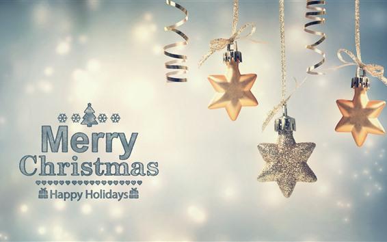 Fondos de pantalla Decoración de estrellas, Feliz Navidad