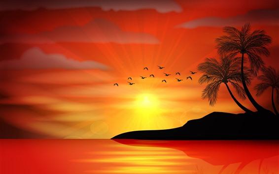 Fond d'écran Coucher de soleil, palmiers, île, mer, coucher de soleil, silhouette, vecteur