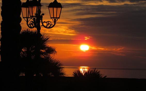 Wallpaper Sunset, sea, lights, silhouette