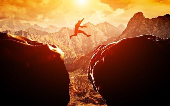 Papéis de Parede Pôr do sol, pedras, homem, saltando, montanhas