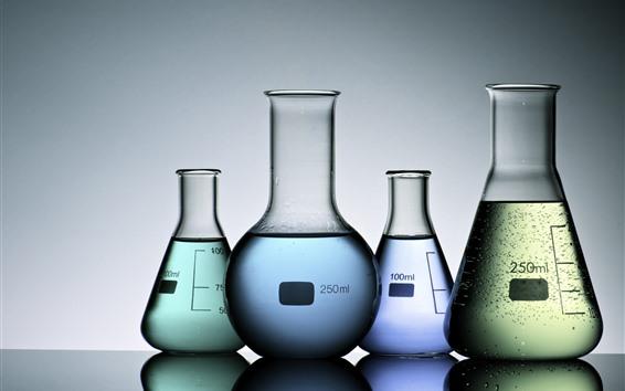 Wallpaper Test tubes, colored liquids, glass bottles