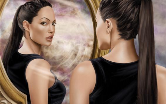 Wallpaper Tomb Raider, Lara Croft, art picture, look at mirror