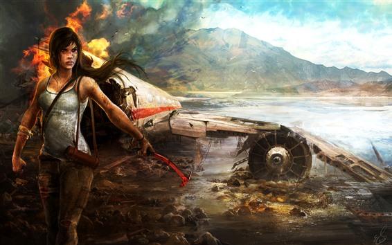 Wallpaper Tomb Raider, island, plane, crash, Lara Croft, fire