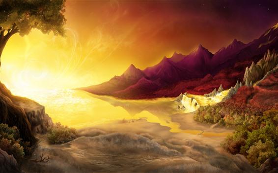 Обои Деревья, горы, море, водопад, солнце, блики, творческая картина