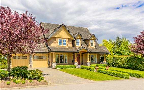 Wallpaper Villa, house, meadow, trees, flowers