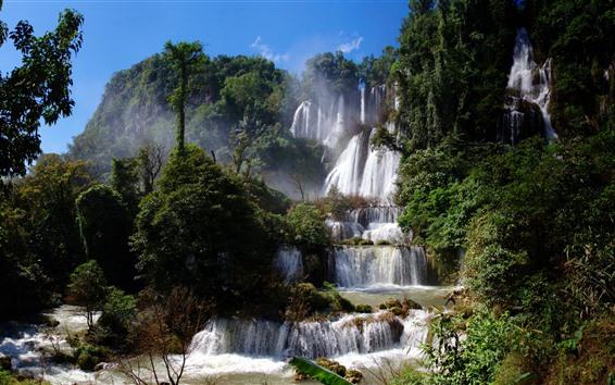 Обои Водопад, Таиланд, Деревья, Туман