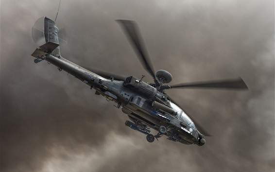 Wallpaper Apache helicopter, sky, black clouds