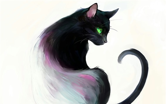 Обои Художественная роспись, черная кошка, оглянуться назад, зеленые глаза, книга