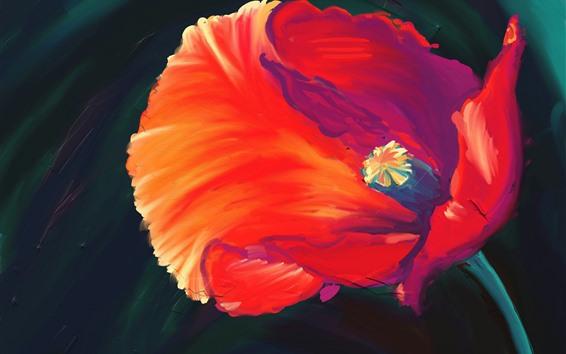 Wallpaper Art painting, red flower, petals
