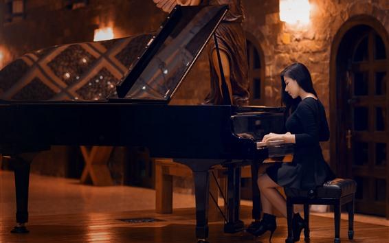 배경 화면 아시아 소녀 피아노, 검은 치마, 조명, 인테리어 재생