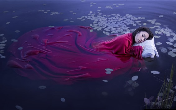 Fondos de pantalla Chica asiática Dormir en el agua del lago, manta roja