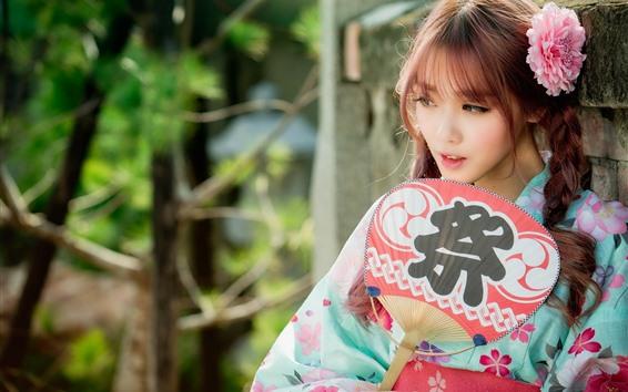 Papéis de Parede Linda garota japonesa, ventilador, trança, flor rosa, quimono