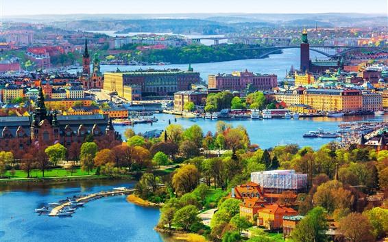 Wallpaper Beautiful city, bridge, river, trees, colorful, Stockholm, Sweden