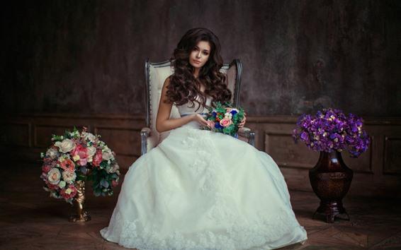 배경 화면 아름 다운 소녀, 신부, 곱슬 머리, 꽃