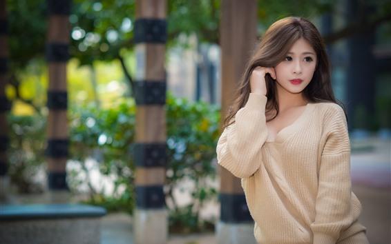 배경 화면 아름 다운 젊은 아시아 여자, 스웨터