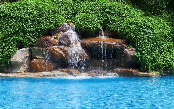 배경 화면 푸른 물, 수영장, 녹색 잎, 폭포, 돌