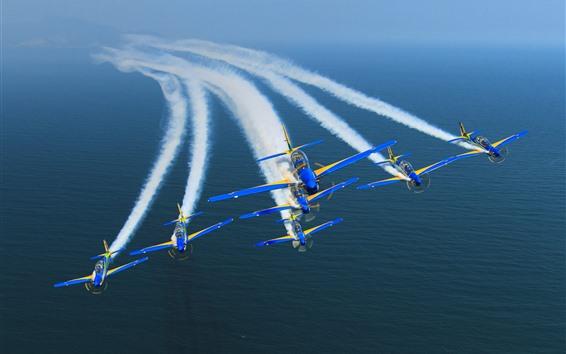 Wallpaper Brazil, aircraft, smoke, sea, air show