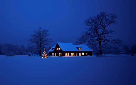Hintergrundbilder Weihnachten, dicker Schnee, Haus, Lichter, Nacht, Bäume, Winter
