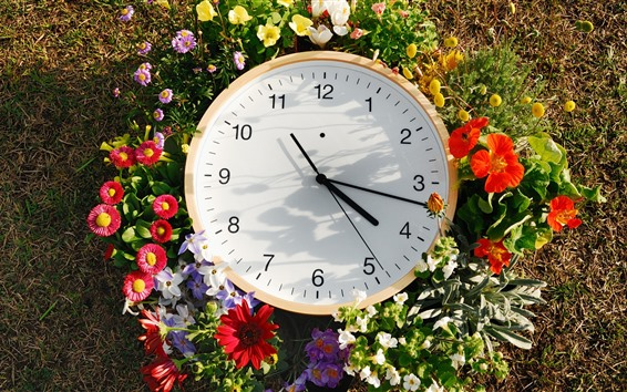 Wallpaper Clock and flowers, time