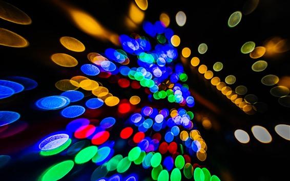 Fond d'écran Cercles de lumière colorée, fond noir, brillance