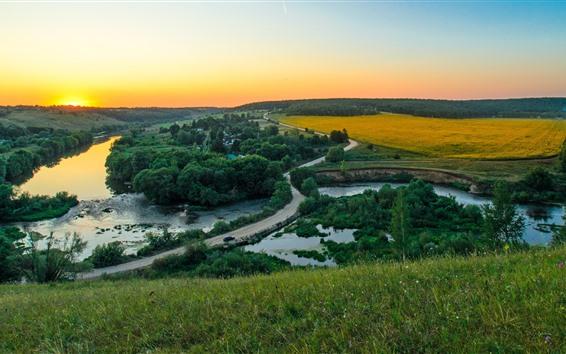 Обои Сельская местность, поля, дорога, деревья, дома, закат