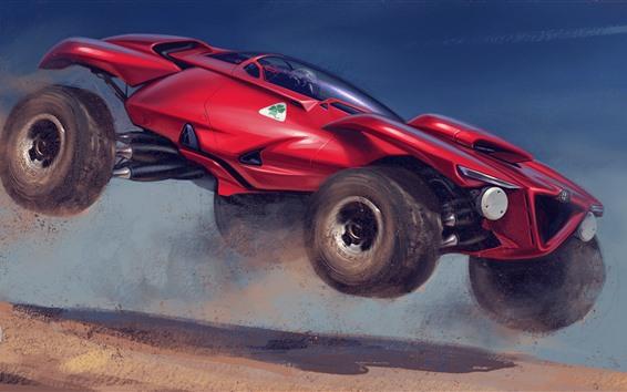 Wallpaper Creative design red car, speed, dirt