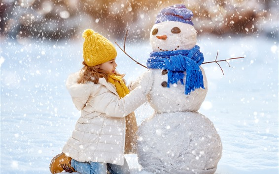 Wallpaper Cute little girl and snowman, winter, thick snow